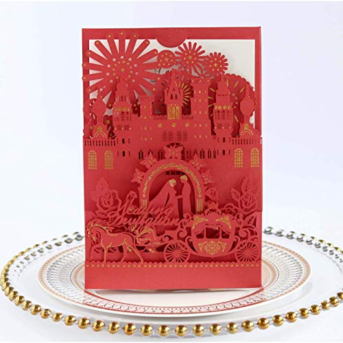 carte invitation mariage, Wedding Laser Hollow Gilding Greeting Card, Carriage Rose Invitation, Hotel Wedding Castle Invitation