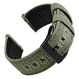 EACHE Cinturini per Orologi in tela da 22 mm per Uomo Cinturini per Orologi in Pelle militare in Pelle verde militare compatibili con SamsungGalaxy Watch 46mm/Huawei Watch GT 2 46mm