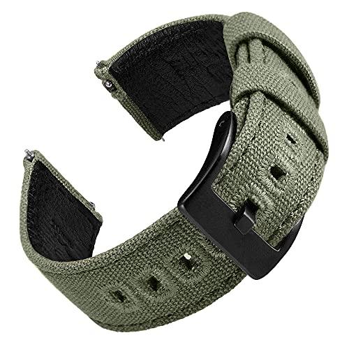 EACHE Correas de Reloj de Lona de 22 mm para Hombres, Cuero, Bandas de Reloj de Cuero Militar, Verde Militar, compatibles con Samsung Galaxy Watch de 46 mm/Huawei Watch GT 2 de 46 mm