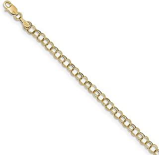 10k Yellow Gold Double Link Charm Bracelet 7 Inch Fine Jewelry For Women Gift Set