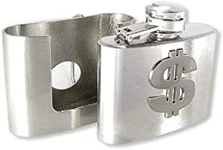 Mens Belt Buckle Flask With Dollar Symbol - Hidden Flask Belt Buckle Fits Belts Up to 1.5 Inches Wide