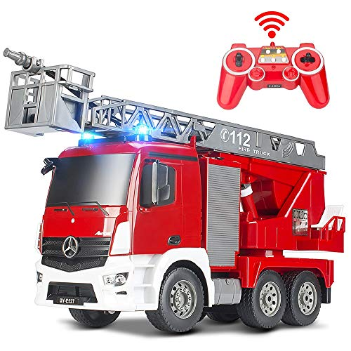 DOUBLE E Rescue Remote Control Fire Truck Shoots Water Extendable 18 Inch Ladder 10 Channel Fire Engine Working Sounds Lights RC Trucks for Kids