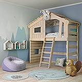 Alpin Chalet - Cama alta para niños, cama de juegos, cama de casa, de madera maciza, natural, 100% bio (accesorio opcional, con estante superior triangular