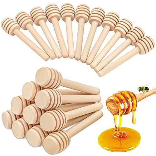Honey Dipper Sticks – 20Pcs Wooden Honey Dipper, 3 Inch Mini Honeycomb Stick, Honey Stirrer Stick for Honey Jar Dispense Drizzle Honey and Wedding Party Gift