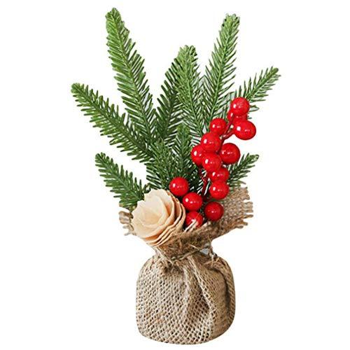 AMOYER Navidad Planta de Tiesto Artificial del árbol de Navidad Mini-Plantas de decoración para el Jardín de la Ventana Principal de Interior Decoración de Exteriores