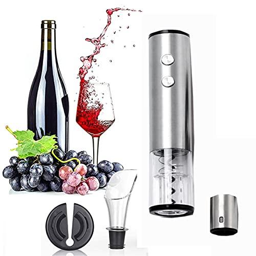 Abrebotellas eléctrico,Abre Vino Automático Profesional,Vino Sacacorchos Eléctrico, Tapón de botella de vino, Vertedor de vino Regalo ideal para los amantes del vino. (Plata)