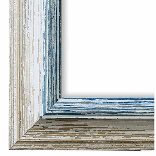 Cornice portafoto Bari, colore beige, bianco e blu - profilo da 4,2 cm, Cornice a giorno con vetro museale (protezione UV 45% - antiriflesso), bianco, 105 x 140 cm