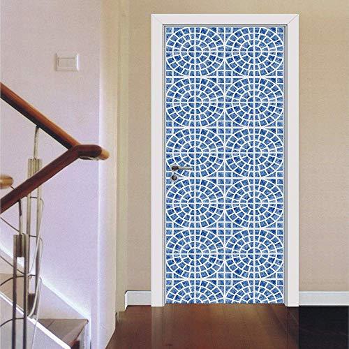 PYUK Creative Deur Stickers DIY Mural Slaapkamer Home Decor Poster PVC Waterdichte Deur Sticker Blauw Wit Aardewerk Tegels Groothandel Prijs