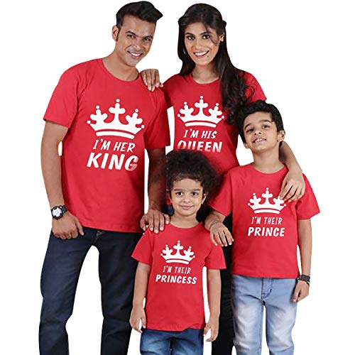 Camisetas King Queen Princess Familiares Camiseta Familiar Padre Madre Hijo Mama Papa Hija Camisetas Estampadas para Familia Personalizadas Camisas Manga Corta Hombre Mujer Niño Niña Tops Rojo M