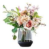 BNFD Accesorios para el hogar Juego de Flores Artificiales con jarrón de Vidrio Ramo de hortensias Flores Flores Falsas y Hojas Verdes Flor de Seda para decoración del hogar Flores Artificiales