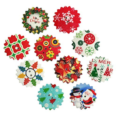 SUPVOX 50pcs Christmas Wooden Buttons Embellishments Sewing Craft Buttons Christmas Tree Wreath Snowman Santa Claus Snowflake Mixed Patterns 24x24mm