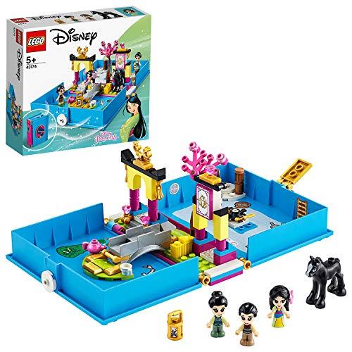 LEGO Disney Princess - Cuentos e Historias: Mulán Juguete Libro Personalizable con Pegatinas que se Abre de Juguete de la Película, Incluye a Muñeca Mulán, Li Shang, Grillo y el Caballo Khan (
