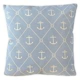 Grafelstein Kissen Seaside hellblau blau weiß mit Ankern Hamptons chic maritim Long Island