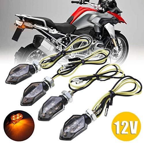 CCAUTOVIE LED Blinker Motorrad E Geprüft Universal LED Blinker Tagfahrlicht Motorrad Blinker Motorrad LED Lauflicht Bernstein E24 (Amber-4pcs)