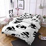 QWFDAQ Fundas de edredón Panda Animal Lindo Negro Blanco Juego de Cama 200cmx355cm con Cierre de Cremallera,Suave Transpirable,Hipoalergénico,Absorción de Humedad y Sudor