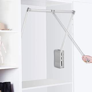 Ejoyous Wardrobe Hanger for Clothes, Pull Down Closet Rod Soft Close Rail Lift Hanging Rail Alumina Closet Storage Organizer for Soft Return Space Saving (Adjustable Width 23.62-33.86inch)
