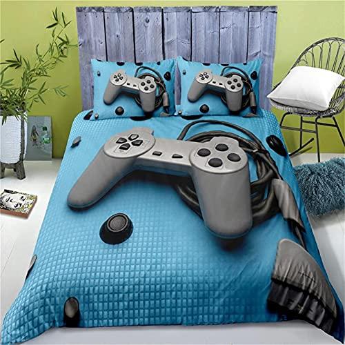 Funda de edredón Fundas de edredón DoubleDuvet Cama doble, ropa de cama 3D Gamepad Consola Controlador de graffiti Funda nórdica y fundas de almohada Juego de cama de color negro gris 1/2 pe