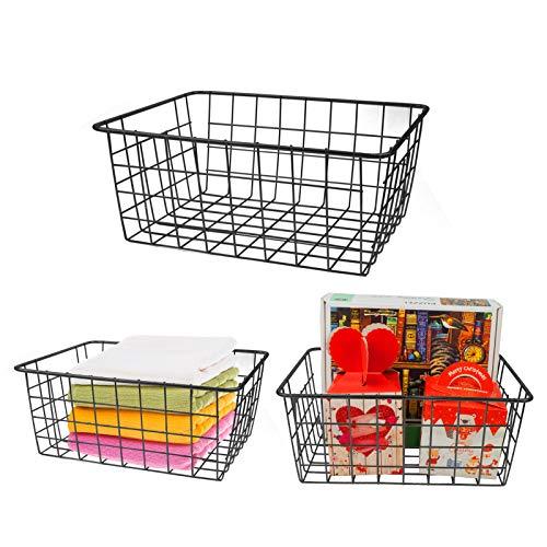 Surmounty Drahtkorb 3Pcs Aufbewahrungskorb mit Griffen, Metallkorb Allzweckkorb Universelle Gitterbox für Küche, Bad, Vorratskammer, 21.5X 27.5X 12cm (Schwarz)
