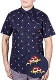 Visive Hawaiian Shirts for Men Big and Tall Button Up Shirts Short Sleeve Navy Pizza 4XL