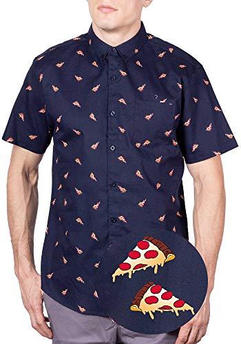 Visive Hawaiian Shirts for Men Navy Pizza Button Down Shirts Short Sleeve Large
