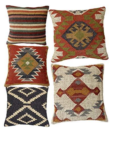 Handicraft Bazarr Kissenbezug aus Jute, Teppichkissen, dekorativ, 45,7 x 45,7 cm