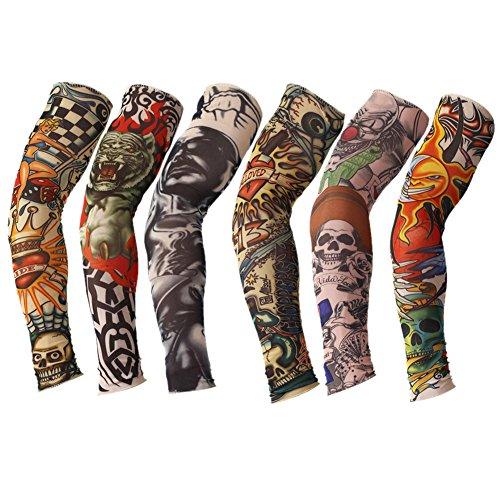 TININNA Manguitos,Juego de 6 Pairs Novedosas Mangas con Apariencia de Tatuaje Real temporales - Diseños Tribal, Dragón, Calavera, etc-B
