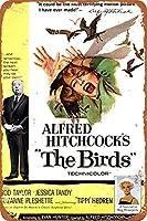 2個 アルフレッドヒッチコック 'S鳥ブリキ看板壁金属レトロクラフトアート絵画鉄板オフィスガーデンリビングルーム装飾警告ポスター20x30 メタルプレート レトロ アメリカン ブリキ 看板
