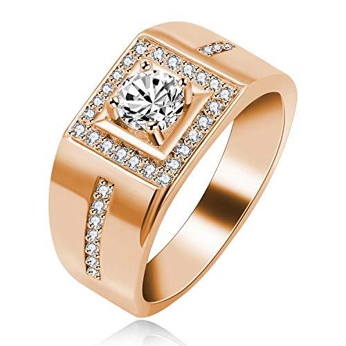 Uloveido Anillo Cuadrado para Hombre Diamantes simulados Anillos de Boda Anillo de Aniversario de Compromiso para él Novio (Oro Rosa, Talla 17) KR201