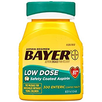 Aspirin Regimen Bayer 81mg Enteric Coated Tablets   Pain Reliever  300 Count