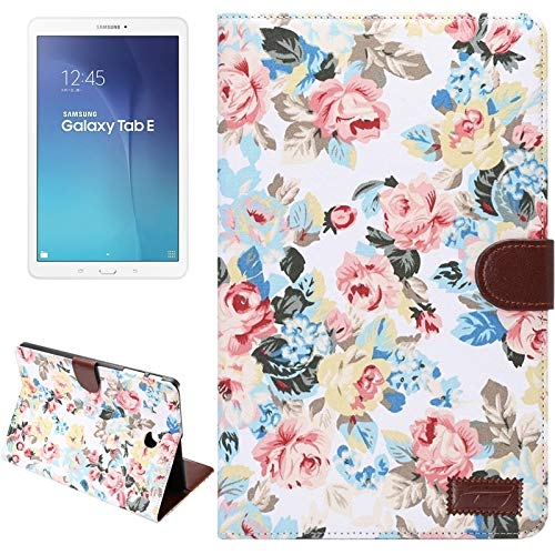simple and practical Flower Pattern Cloth Surface Horizontal Flip Leather Case with Wallet & Card Slots & Holder for Galaxy Tab E 9.6 / T560, All buttons match(Black) (Color : White)