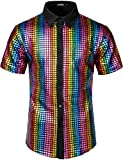 JOGAL Men's Dress Shirt Sequins Button Down Shirts 70s Disco Party Costume Small A353 Multicoloured