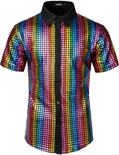 JOGAL Herren Pailletten Kleid Shirt 70er Disco Party Kustüm XX-Large Mehrfarbig
