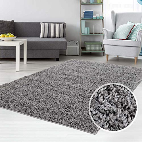 carpet city Hochflor Shaggy Teppich Langflor Einfarbig Uni Dunkel Grau für Wohnzimmer Schlafzimmer 3 cm Florhöhe, Größe 70x250 cm