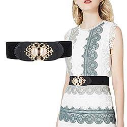 Futurekart Womens PU Leather Wide Embellished Elastic Buckle Waist Belt (Black, Standard)