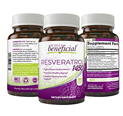 RESVERATROL1450-90day Supply, 1450mg per Serving of Potent Antioxidants & Trans-Resveratrol, Promotes Anti-Aging, Cardiovascular Support, Maximum Benefits (1bottle)