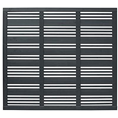 Forest Garden 1.8m x 1.81m Contemporary Mixed Slatted Fence Panel Anthracite Grey, Pack of 3 by Forest Garden