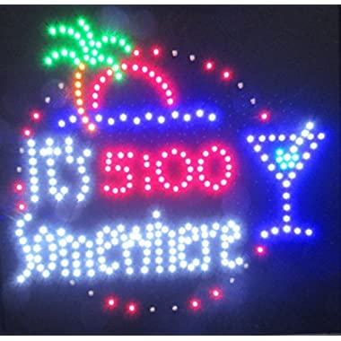 Decorative Novelty LED Signs for Wall Decor, Man Cave, Wet Bar Accessories (19 L x 19 W x 1 H, 5:00 SOMEWHERE)