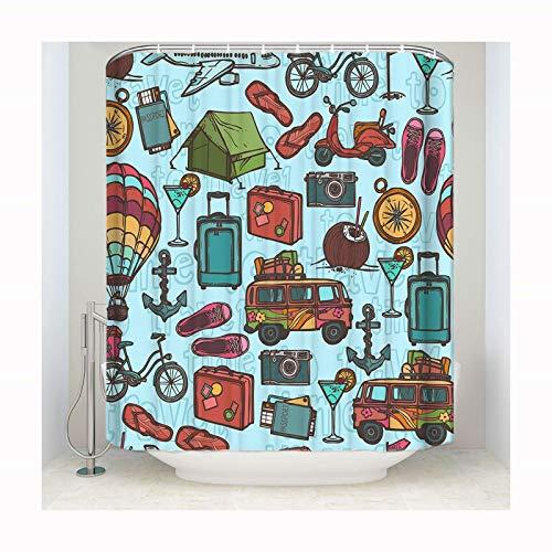 DOLOVE Polyester Duschvorhang Antischimmel Waschbar Vintage 183x183 Karikatur Anti-Schimmel Duschvorhang