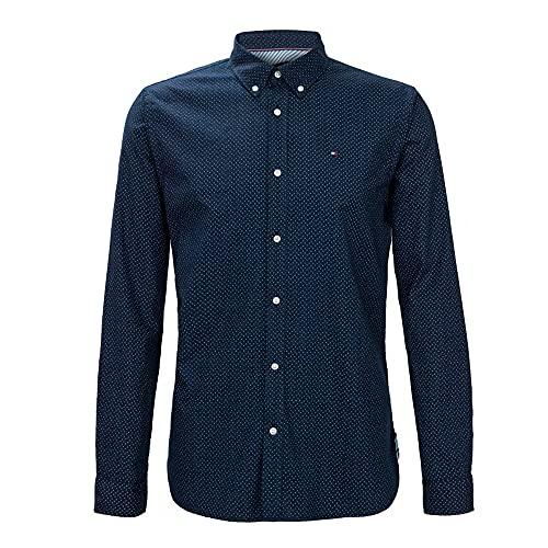 Tommy Hilfiger Camisa Slim Fit para Hombre (L, Ash/White)