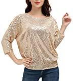 JASAMBAC Sequin Shirt for Women Plus Size Sparkly Dressy Cocktail Shirt Size 2XL Champagne