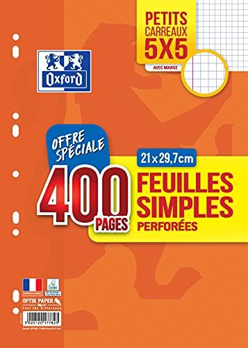 Oxford Feuilles Simples 400 Pages A4 Perforées 90g Petits Carreaux 5x5