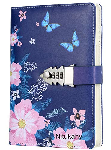 Nitukany Journal for Women Kids Teenage Girls Writing Diary with Lock Lined Cute Lockable Journals Locking Refillable Notebooks Personal Secret Diary