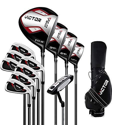 LSAMX Juego de palos de golf de acero para hombre de 12 piezas con bolsa, 1/3/5 madera, 5/6/7/8/9/P/S hierro, 1 madera de hierro, 1 putter. diestros