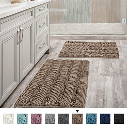 Extra Thick Chenille Striped Pattern Bath Rugs for Bathroom Non Slip - Soft Plush Shaggy Bath Mats...