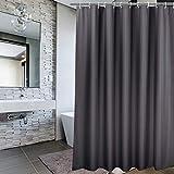 EurCross Duschvorhang, Polyester, schimmelfest, wasserabweisend, Weiß, Polyester, dunkelgrau, 72