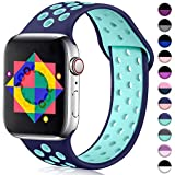 ilopee Sport Band Compatible for Apple 5 Watch 40mm, Silicone Breathable Strap Wristbands Replacement with Holes for iWatch 38mm Women Men, Navy Blue/Teal, S/M
