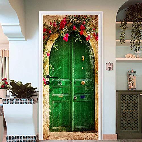 Gzltd Adhesivos para puertas Puerta Verde Vintage 3D Papel pintado PVC Impermeable y a prueba de aceite,adecuado para decoración de puertas sala de estar,dormitorio,cocina y baño 77x200cm