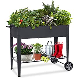 """Foyuee raised planter box with legs outdoor elevated garden bed on wheels for vegetables flower herb patio 1 size: 40-1/2"""" l x 15-1/2"""" w x 31-1/2"""" h overall, planting box: 37-1/2"""" l x 15-1/2"""" w x 8"""" deep, holds about 2. 5 cubic feet soil, provide ample growing space to raise vegetables, herbs, flowers and plants ergonomic: elevated raised planter box with legs eliminates the need to bend over, making gardening convenient. Raised garden bed on wheels, move to anywhere you want, with handy shelf holds accessories or tools metal: made of stable galvanized steel raised garden bed with anti-rusty grey coating, not made of wood which may rot. It can place outside or indoor for long time use"""