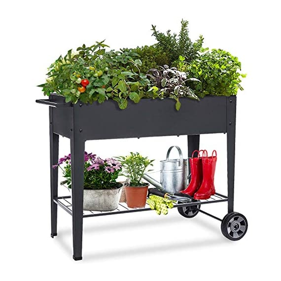 """FOYUEE Raised Planter Box with Legs Outdoor Elevated Garden Bed On Wheels for Vegetables Flower Herb Patio 1 SIZE: 40-1/2"""" L x 15-1/2"""" W x 31-1/2"""" H overall, planting box: 37-1/2"""" L x 15-1/2"""" W x 8"""" deep, holds about 2.5 cubic feet soil, provide ample growing space to raise vegetables, herbs, flowers and plants ERGONOMIC: Elevated raised planter box with legs eliminates the need to bend over, making gardening convenient. Raised garden bed on wheels, move to anywhere you want, with handy shelf holds accessories or tools METAL: Made of stable galvanized steel raised garden bed with anti-rusty grey coating, not made of wood which may rot. It can place outside or indoor for long time use"""