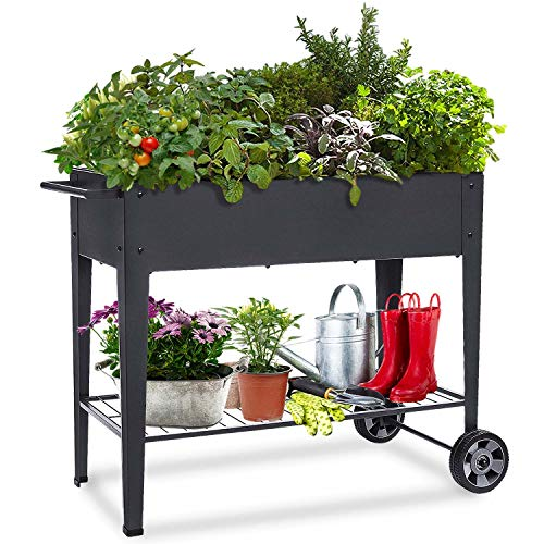 Raised Planter Box with Legs Outdoor Elevated Garden Bed On Wheels